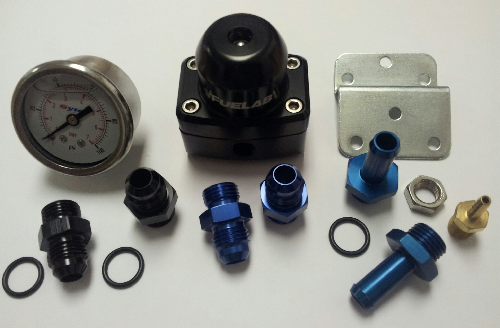 Fuelab Mini Lightweight 3 Port Regulator With Subaru Impreza Fitting Kit, & Fuel Pressure Gauge